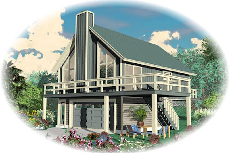 Contemporary Style House Plan - 2 Beds 1 Baths 868 Sq/Ft Plan #81-13766