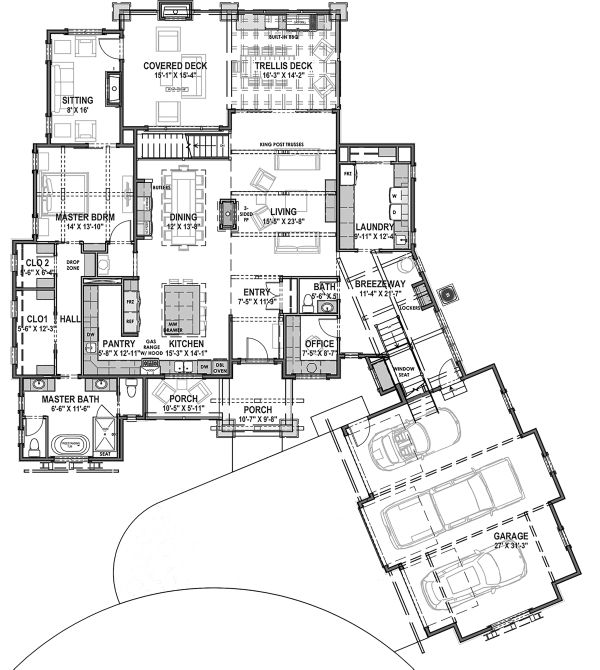 Farmhouse Floor Plan - Main Floor Plan Plan #1069-21