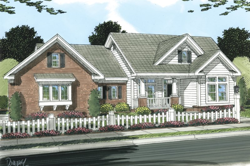 Cottage Exterior - Front Elevation Plan #513-2048
