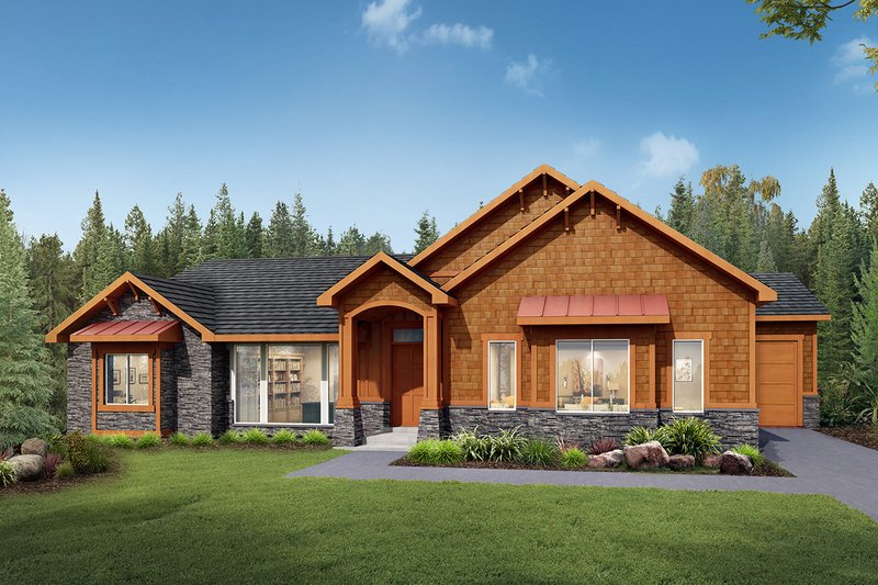 Craftsman Style House Plan - 3 Beds 2.5 Baths 2681 Sq/Ft Plan #1073-1 Exterior - Front Elevation