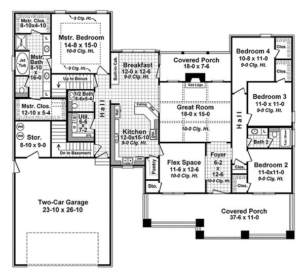 Craftsman Floor Plan - Main Floor Plan Plan #21-341