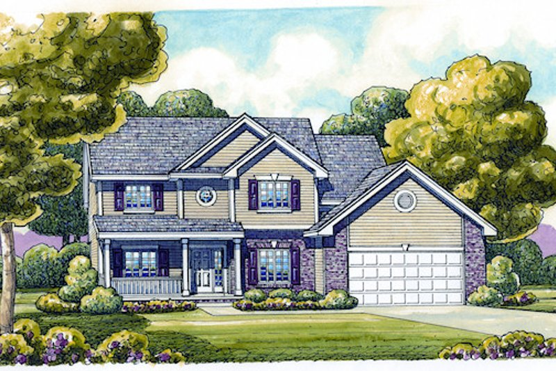 Home Plan - Traditional Exterior - Front Elevation Plan #20-2051