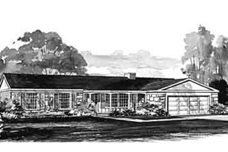 Ranch Exterior - Front Elevation Plan #72-394