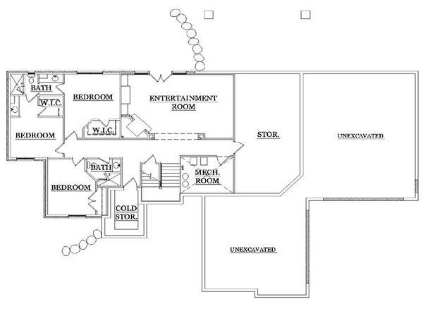 Craftsman Floor Plan - Lower Floor Plan Plan #5-249