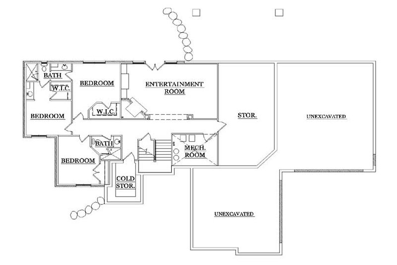 Craftsman Floor Plan - Lower Floor Plan Plan #5-249