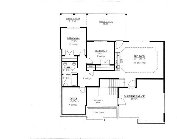 Craftsman Floor Plan - Lower Floor Plan Plan #437-94