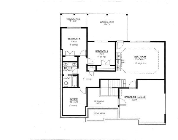 Craftsman Floor Plan - Lower Floor Plan #437-94