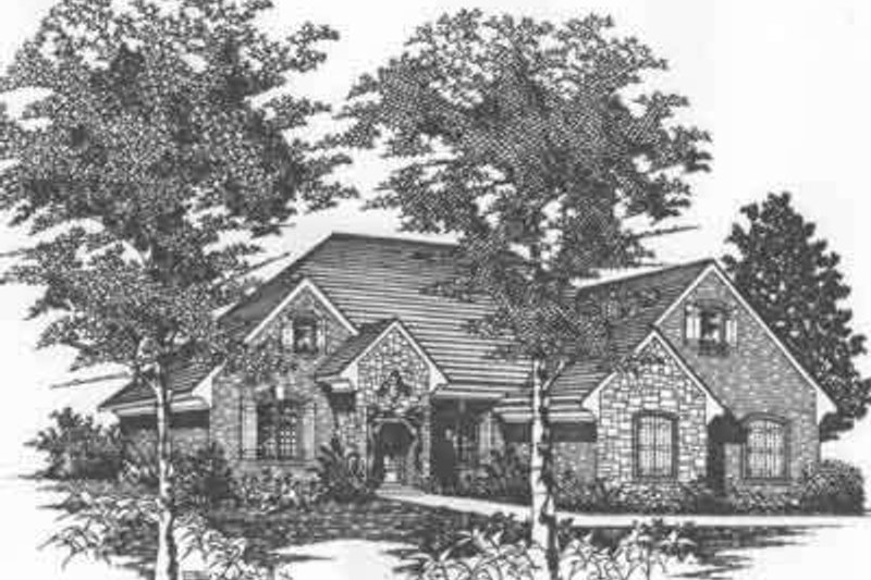 European Style House Plan - 2 Beds 2.5 Baths 2197 Sq/Ft Plan #329-148 Exterior - Front Elevation