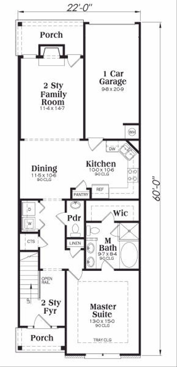 Craftsman Floor Plan - Main Floor Plan Plan #419-161