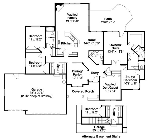 Mediterranean Floor Plan - Main Floor Plan Plan #124-466