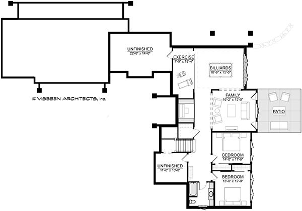 Traditional Floor Plan - Lower Floor Plan Plan #928-300
