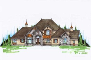 European Exterior - Front Elevation Plan #5-424