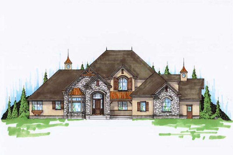 House Plan Design - European Exterior - Front Elevation Plan #5-424