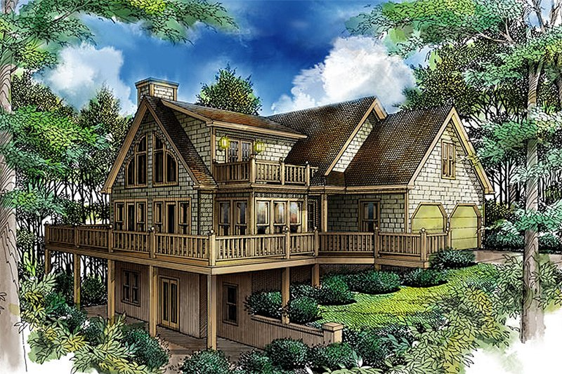 Cottage Style House Plan - 3 Beds 2 Baths 1901 Sq/Ft Plan #71-108 Exterior - Front Elevation