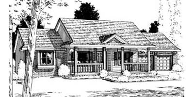Ranch Exterior - Front Elevation Plan #20-125