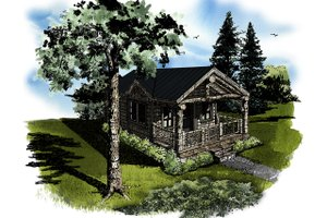 Log Exterior - Front Elevation Plan #942-45
