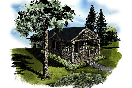 Log Exterior - Front Elevation Plan #942-45