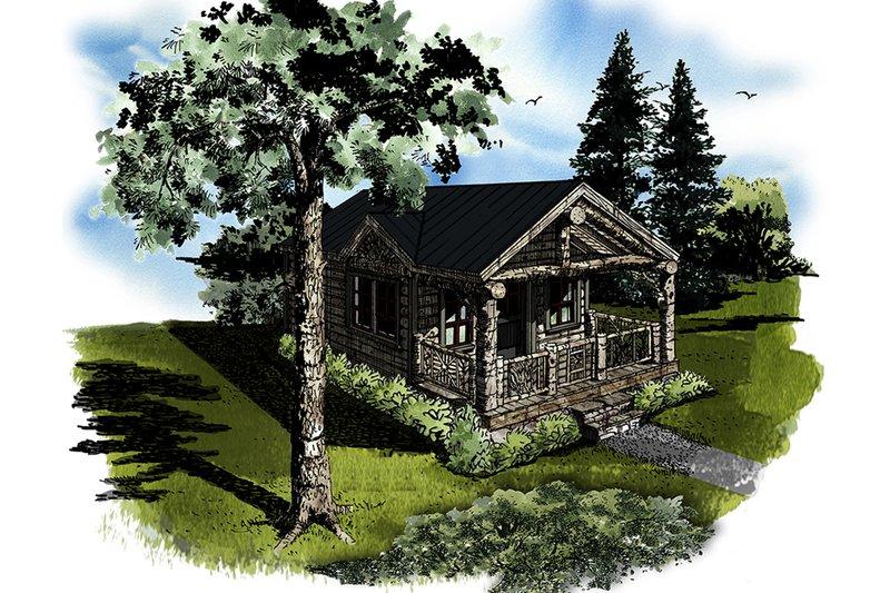 Dream House Plan - Log Exterior - Front Elevation Plan #942-45