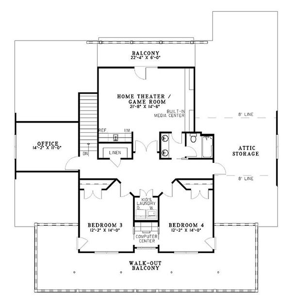 Farmhouse Floor Plan - Upper Floor Plan Plan #17-528