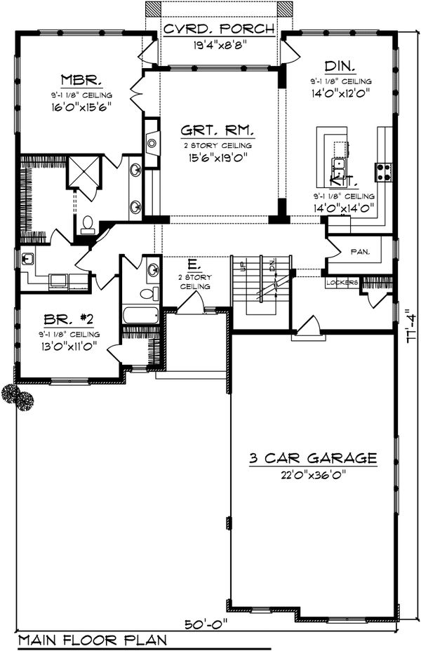 Traditional Floor Plan - Main Floor Plan Plan #70-1108