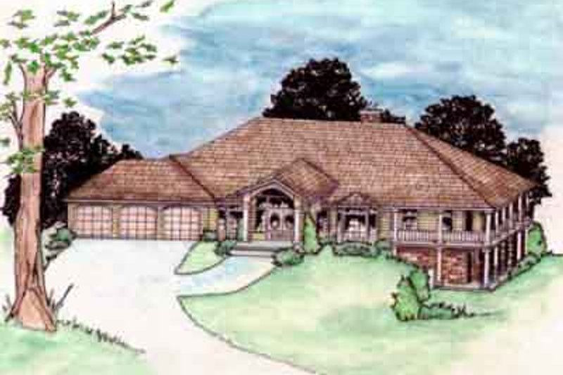 Traditional Style House Plan - 2 Beds 3 Baths 3609 Sq/Ft Plan #117-187 Exterior - Front Elevation