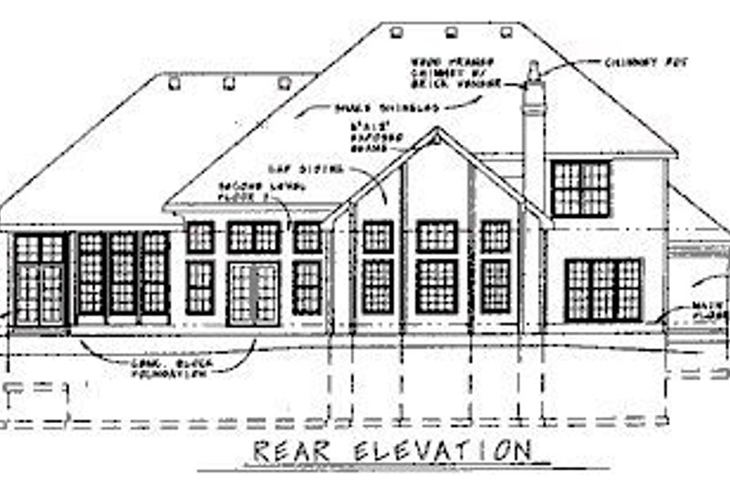 European Exterior - Rear Elevation Plan #20-1133 - Houseplans.com