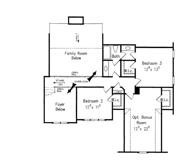 Craftsman Floor Plan - Upper Floor Plan Plan #927-3