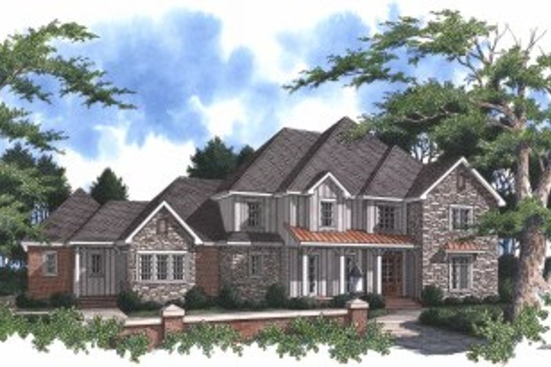 Traditional Style House Plan - 4 Beds 5 Baths 4257 Sq/Ft Plan #37-102 Exterior - Front Elevation