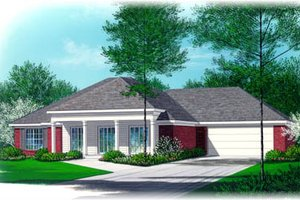 Southern Exterior - Front Elevation Plan #15-105