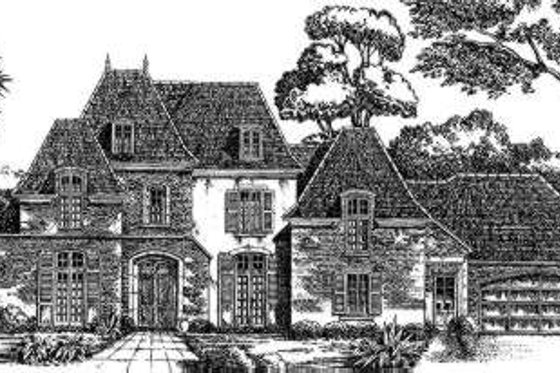 European Exterior - Front Elevation Plan #301-116
