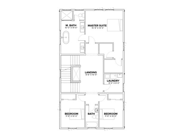 Modern Floor Plan - Upper Floor Plan Plan #1076-3