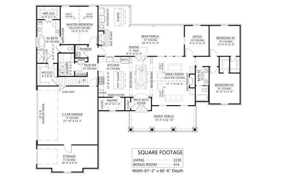 Architectural House Design - Farmhouse Floor Plan - Main Floor Plan #1074-42