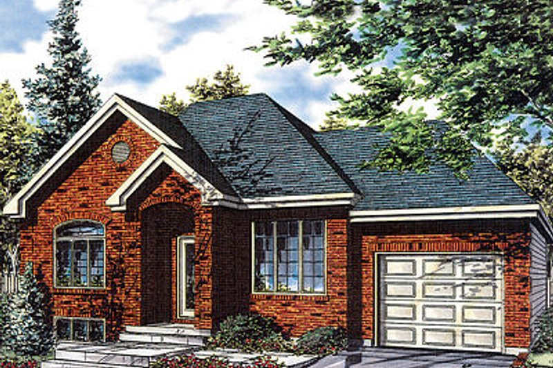 European Style House Plan - 4 Beds 1 Baths 1287 Sq/Ft Plan #138-209 Exterior - Front Elevation