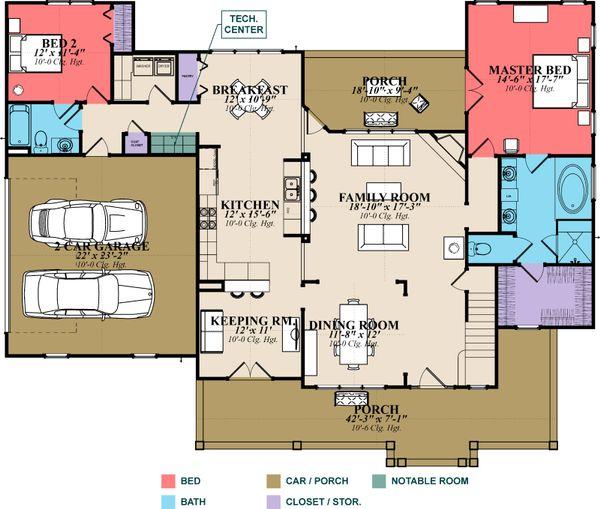 Country Floor Plan - Main Floor Plan #63-271