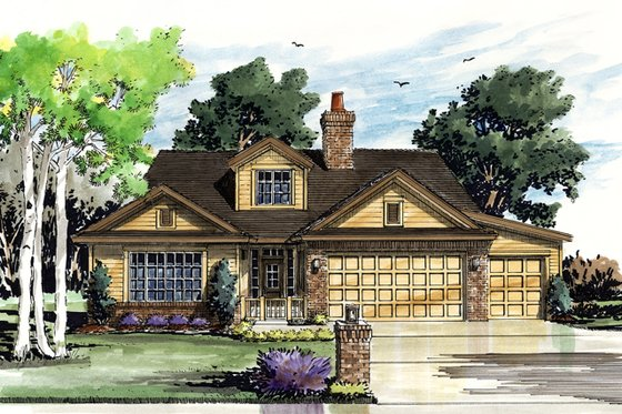 Cottage Exterior - Front Elevation Plan #942-42