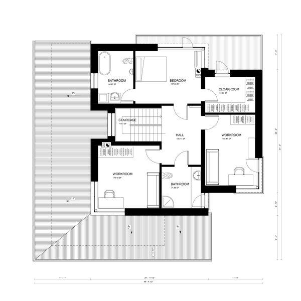 Contemporary Floor Plan - Upper Floor Plan Plan #906-16