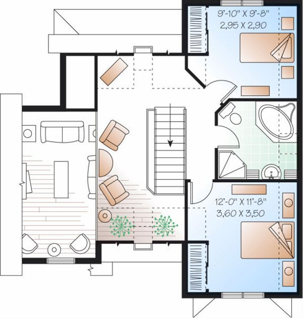 Farmhouse Floor Plan - Upper Floor Plan Plan #23-852