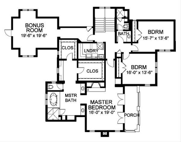 Traditional Floor Plan - Upper Floor Plan Plan #490-13