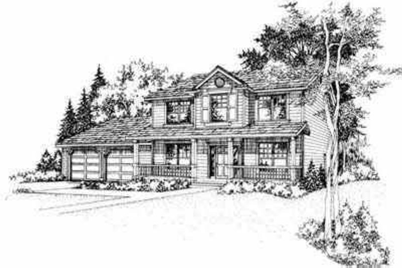 Traditional Style House Plan - 3 Beds 2.5 Baths 1595 Sq/Ft Plan #78-121 Exterior - Front Elevation