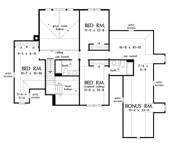 European Floor Plan - Upper Floor Plan Plan #929-1022