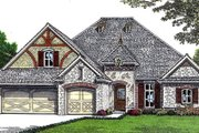 European Style House Plan - 3 Beds 2 Baths 2206 Sq/Ft Plan #310-676 Exterior - Front Elevation