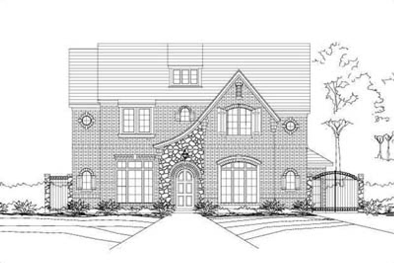 European Style House Plan - 5 Beds 3 Baths 5160 Sq/Ft Plan #411-196 Exterior - Front Elevation