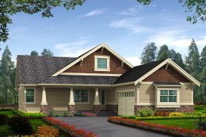 Architectural House Design - Craftsman Exterior - Front Elevation Plan #132-198