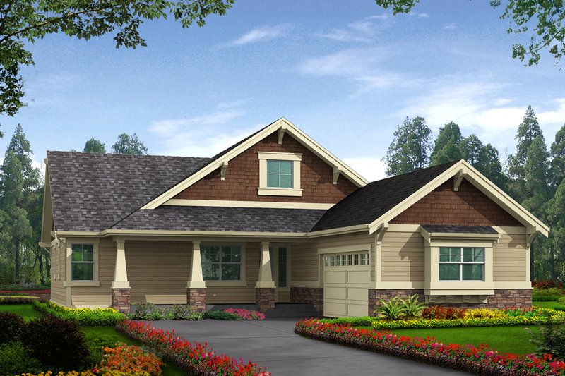 Craftsman Style House Plan - 3 Beds 2 Baths 1762 Sq/Ft Plan #132-198 Exterior - Front Elevation