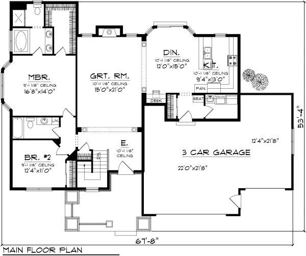 House Plan Design - Ranch Floor Plan - Main Floor Plan #70-1112