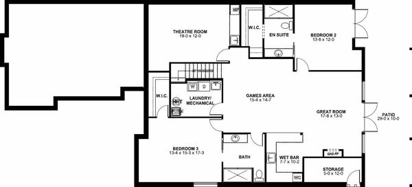 Craftsman Floor Plan - Lower Floor Plan Plan #126-198