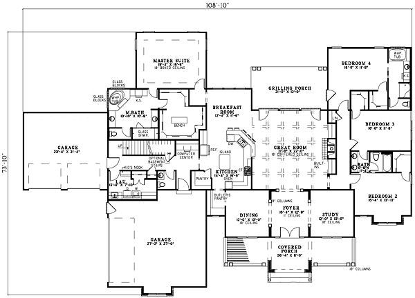 Ranch Floor Plan - Main Floor Plan Plan #17-1166