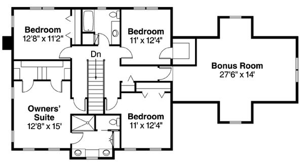 Colonial Floor Plan - Upper Floor Plan Plan #124-443