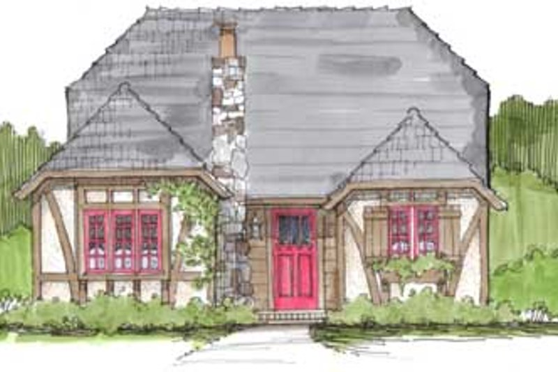 Cottage Style House Plan - 3 Beds 1 Baths 878 Sq/Ft Plan #43-108 Exterior - Front Elevation
