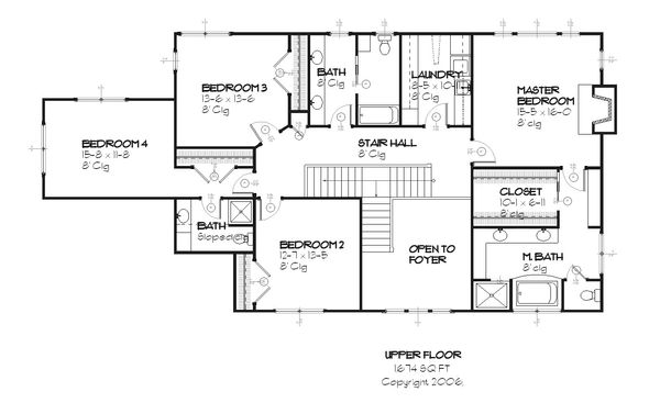 Country style house plan, Farmhouse design, upper level floor plan